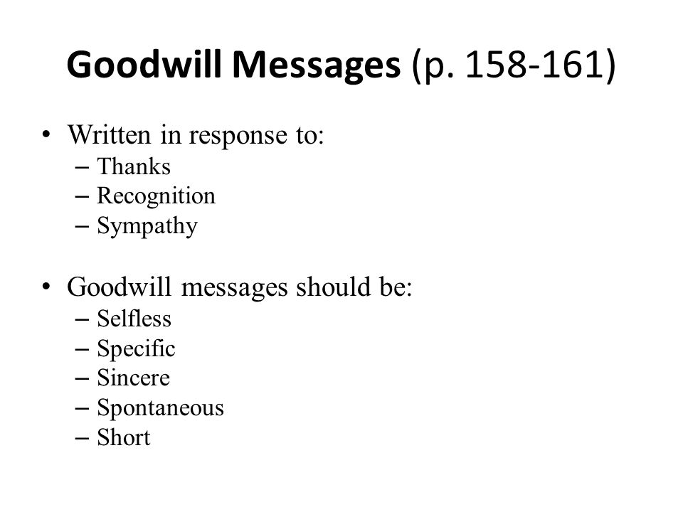 Goodwill Messages (p. 158-161)