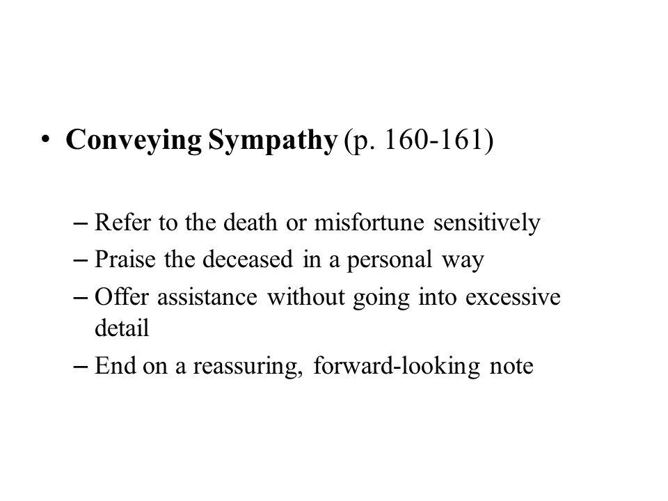 Conveying Sympathy (p. 160-161)