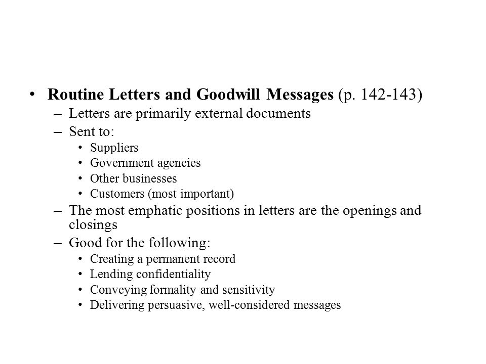 Routine Letters and Goodwill Messages (p. 142-143)