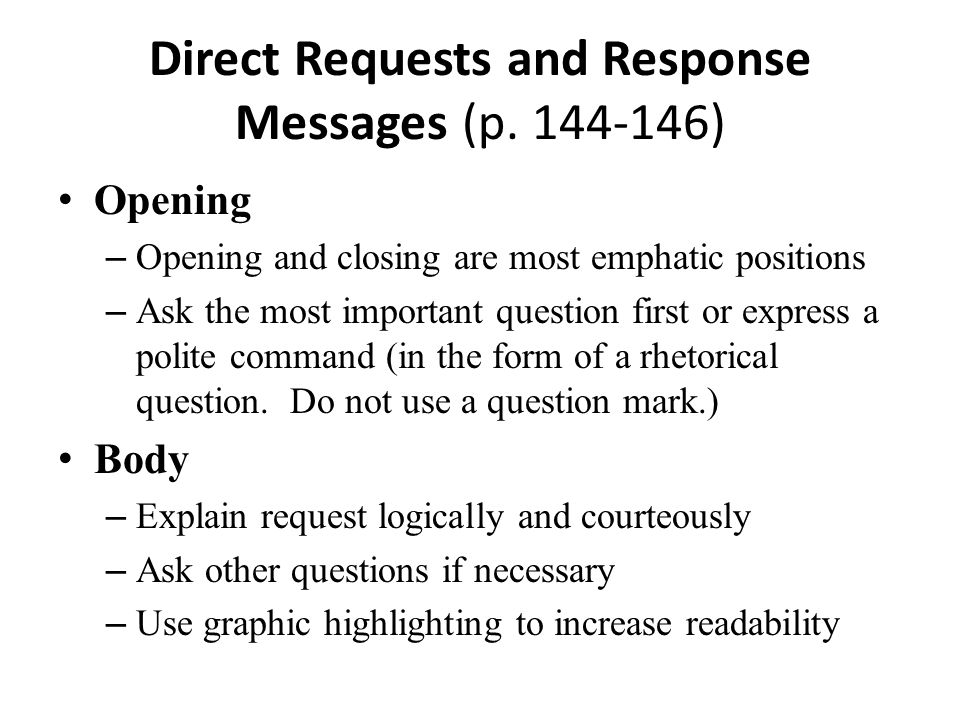 Direct Requests and Response Messages (p. 144-146)