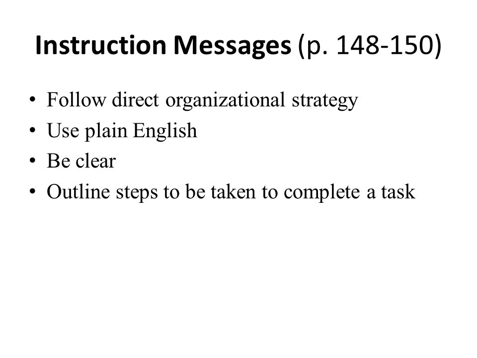 Instruction Messages (p. 148-150)