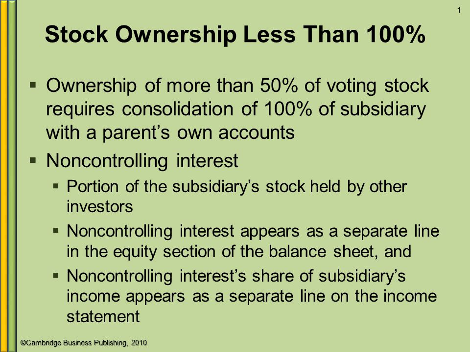 Stock Ownership Less Than 100%