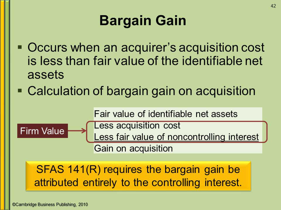 Bargain Gain Occurs when an acquirer's acquisition cost is less than fair value of the identifiable net assets.