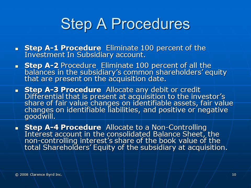 Step A Procedures Step A-1 Procedure Eliminate 100 percent of the Investment In Subsidiary account.