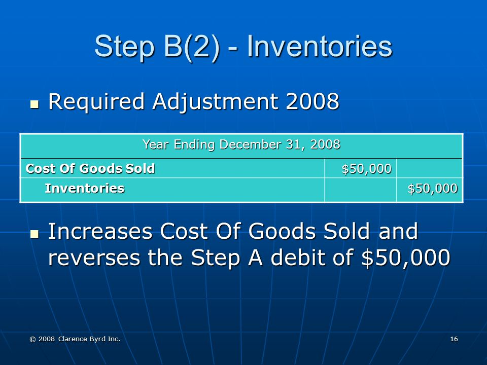 Step B(2) - Inventories Required Adjustment 2008