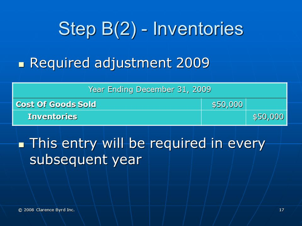 Step B(2) - Inventories Required adjustment 2009
