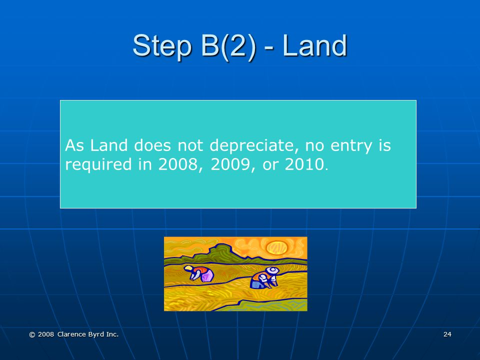 Step B(2) - Land As Land does not depreciate, no entry is required in 2008, 2009, or 2010.
