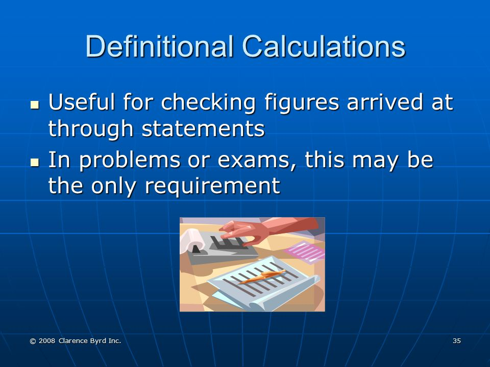 Definitional Calculations