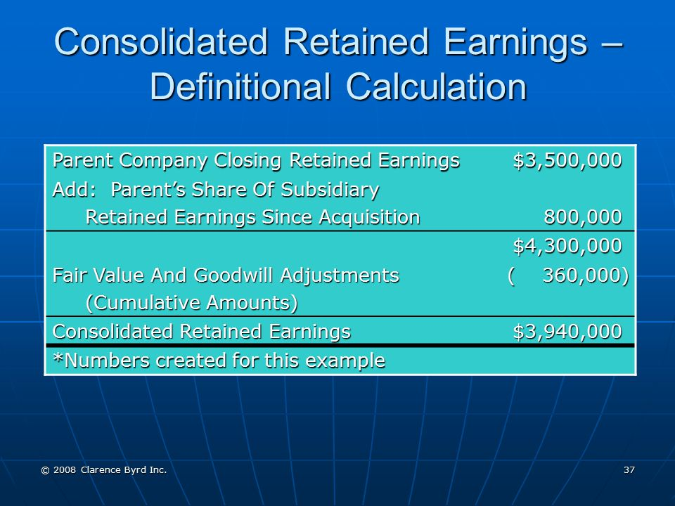 Consolidated Retained Earnings – Definitional Calculation