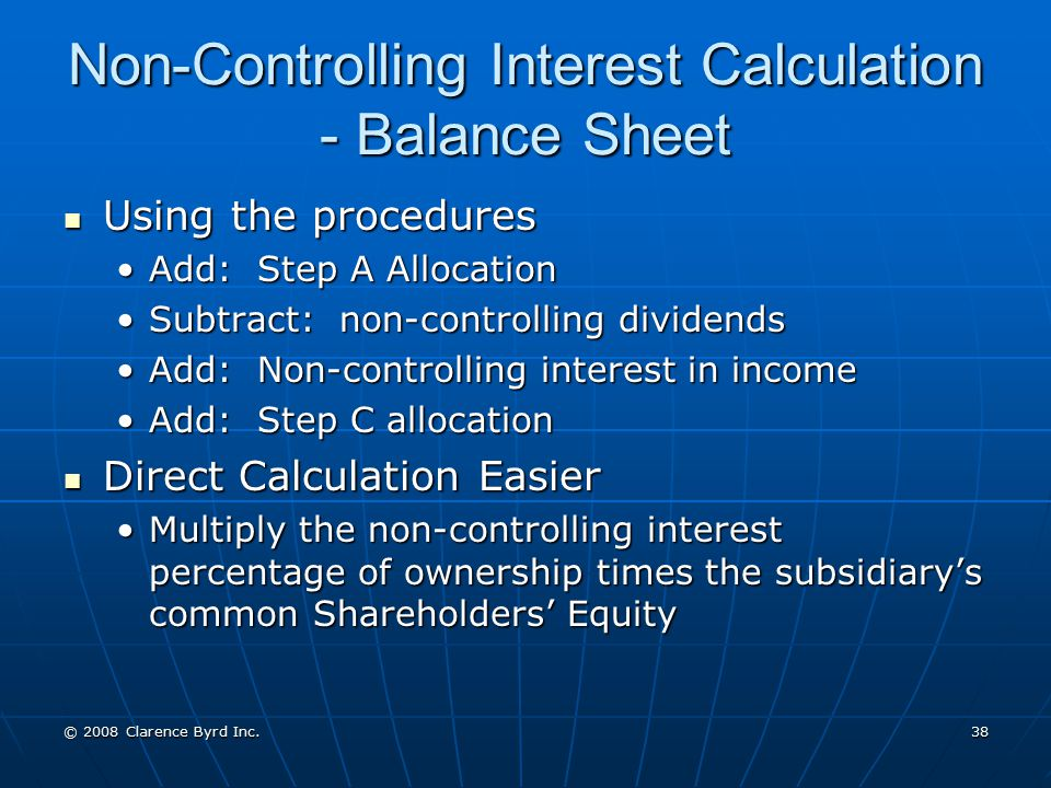 Non-Controlling Interest Calculation - Balance Sheet