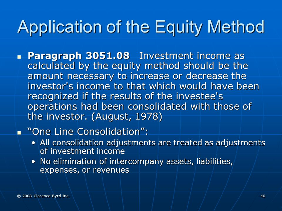 Application of the Equity Method