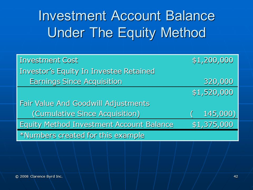 Investment Account Balance Under The Equity Method