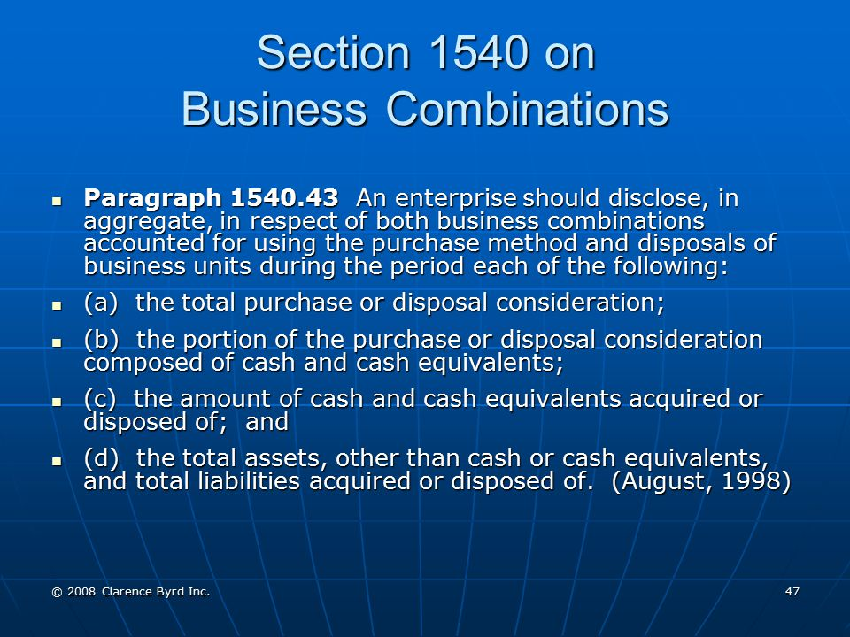 Section 1540 on Business Combinations