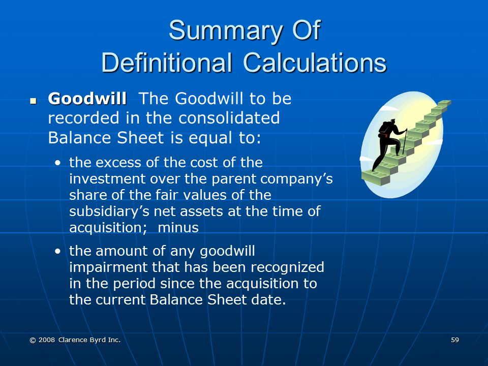 Summary Of Definitional Calculations