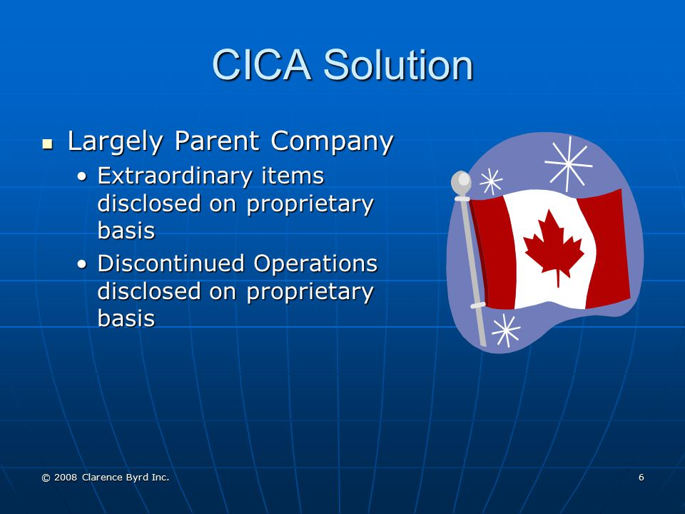 CICA Solution Largely Parent Company