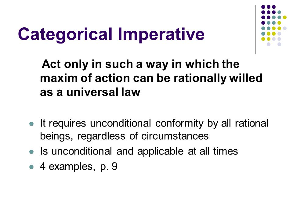 the categorical imperative Categorical imperative definition is - a moral obligation or command that is unconditionally and universally binding a moral obligation or command that is unconditionally and universally binding see the full definition.