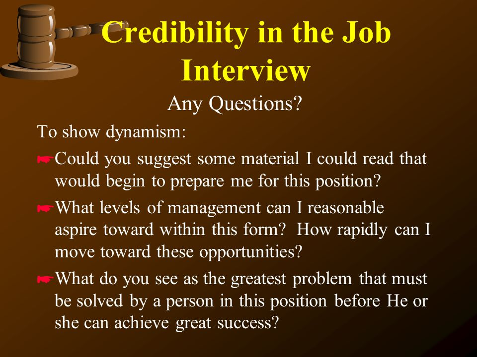 Credibility in the Job Interview