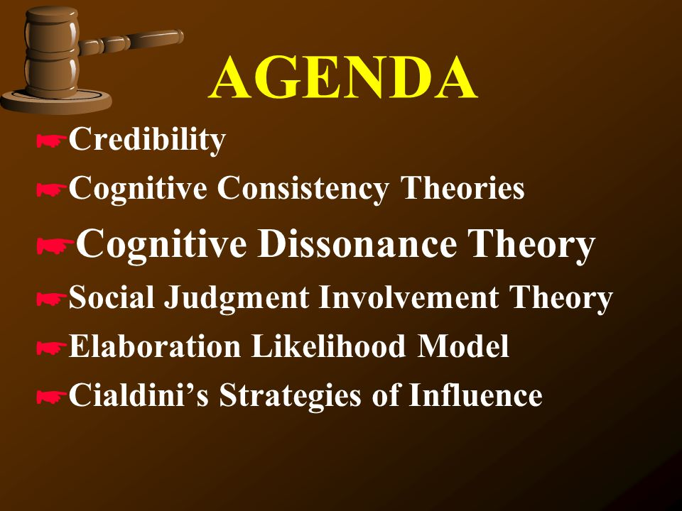 AGENDA Cognitive Dissonance Theory Credibility
