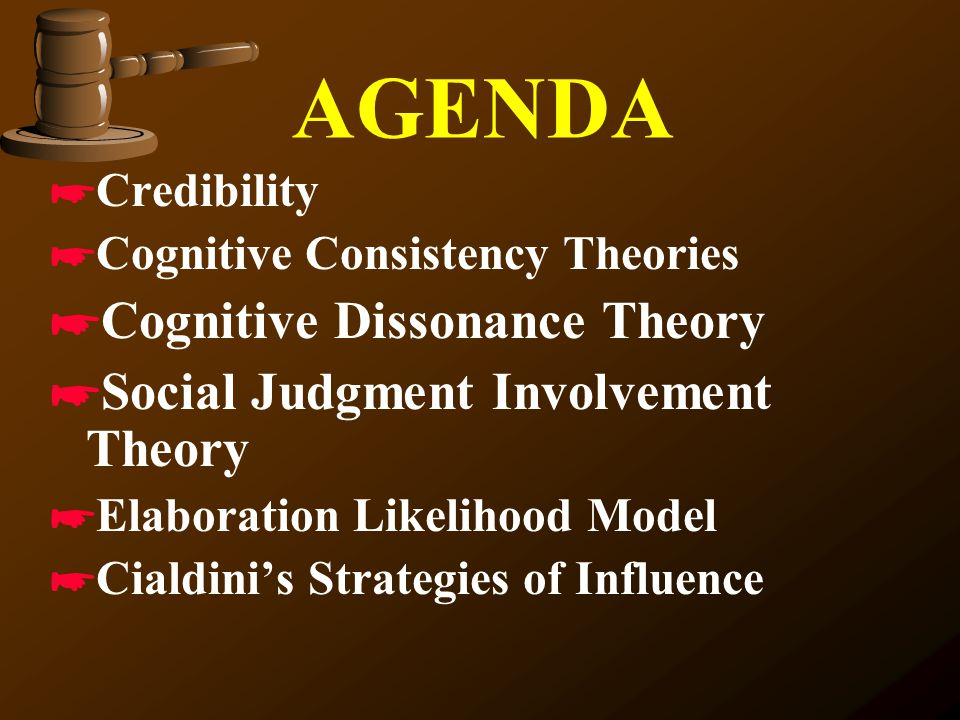 AGENDA Cognitive Dissonance Theory Social Judgment Involvement Theory