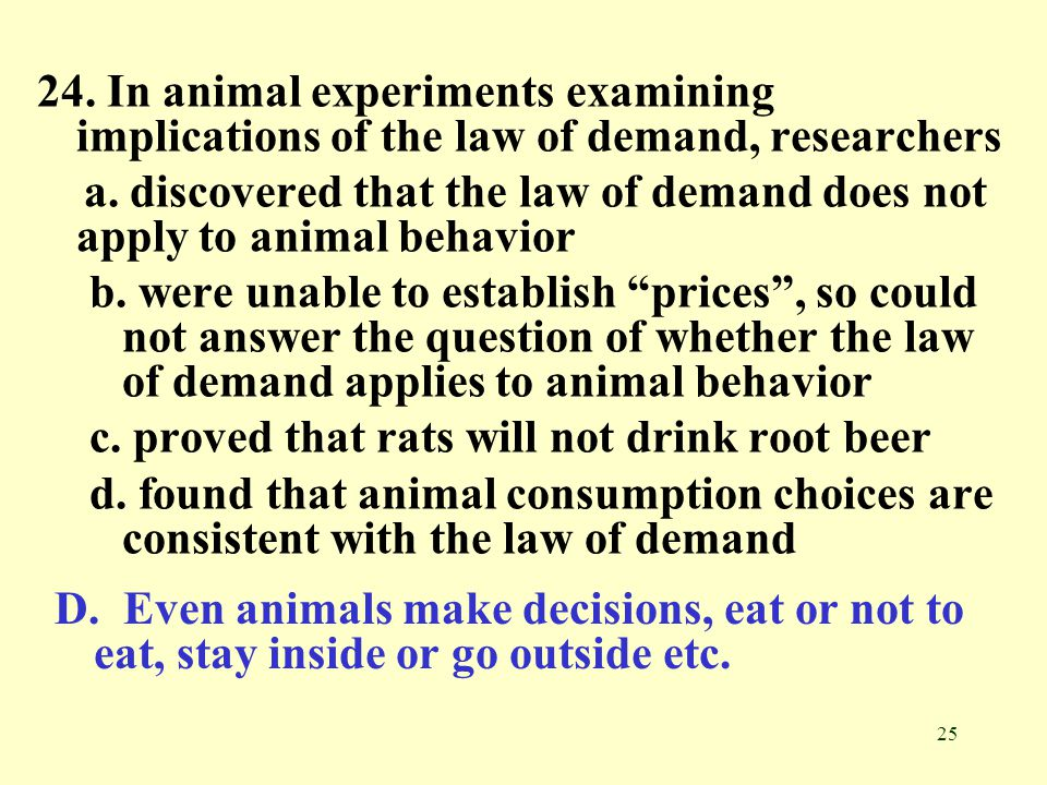 24. In animal experiments examining implications of the law of demand, researchers