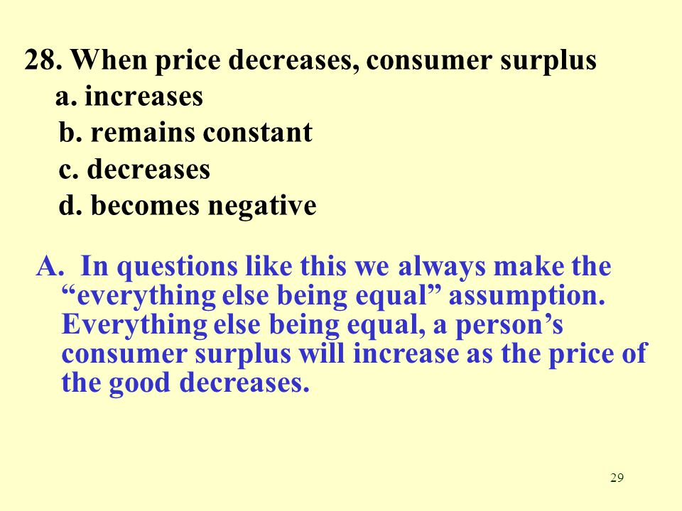 28. When price decreases, consumer surplus