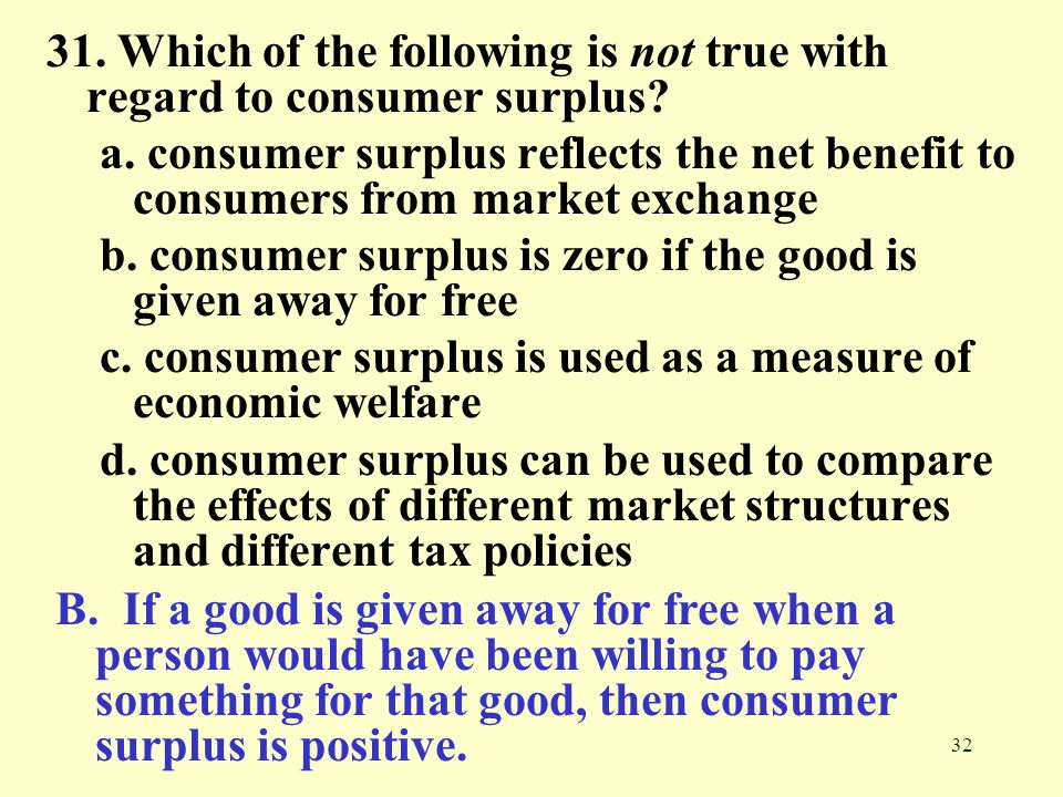 31. Which of the following is not true with regard to consumer surplus