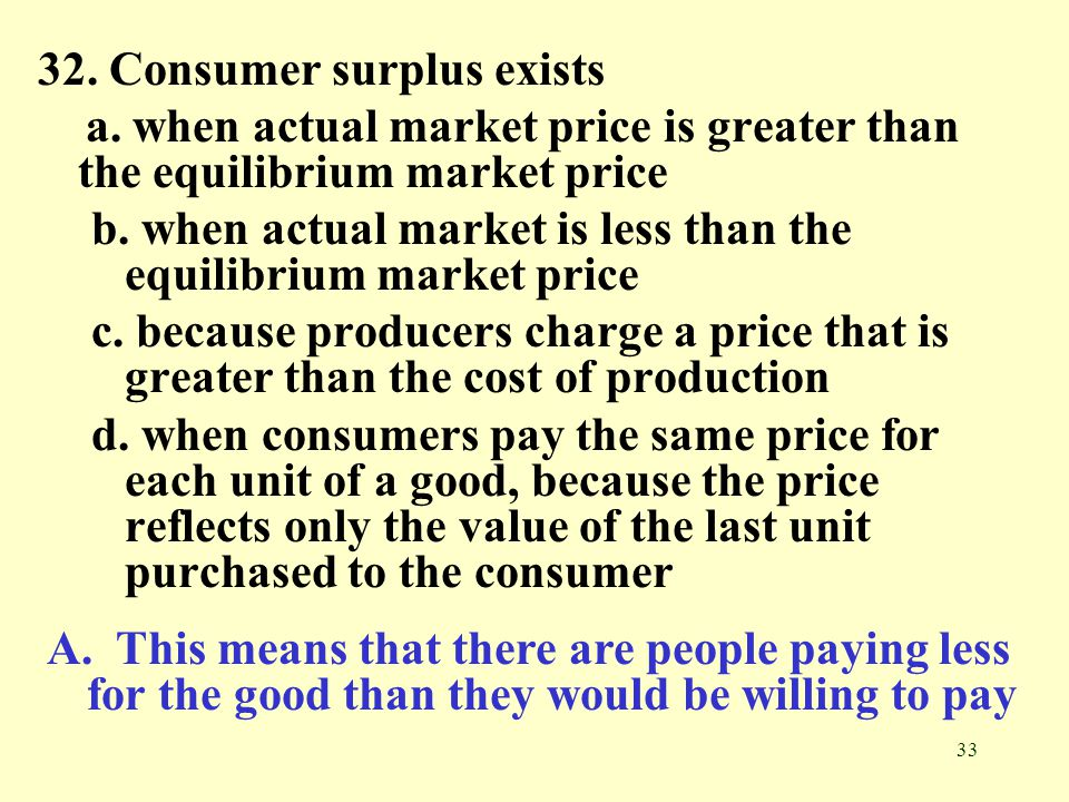 32. Consumer surplus exists