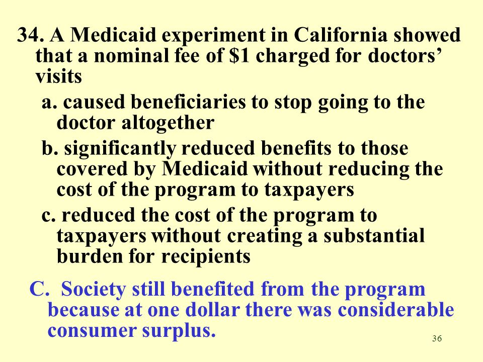 34. A Medicaid experiment in California showed that a nominal fee of $1 charged for doctors' visits