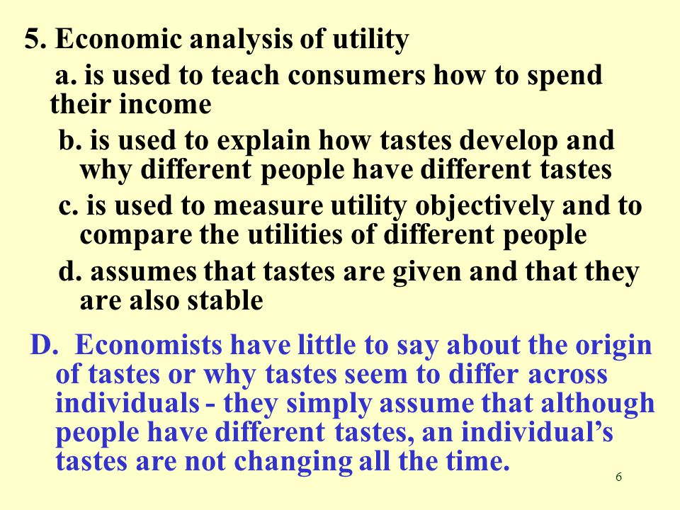 5. Economic analysis of utility