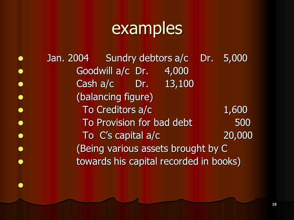 examples Jan. 2004 Sundry debtors a/c Dr. 5,000 Goodwill a/c Dr. 4,000
