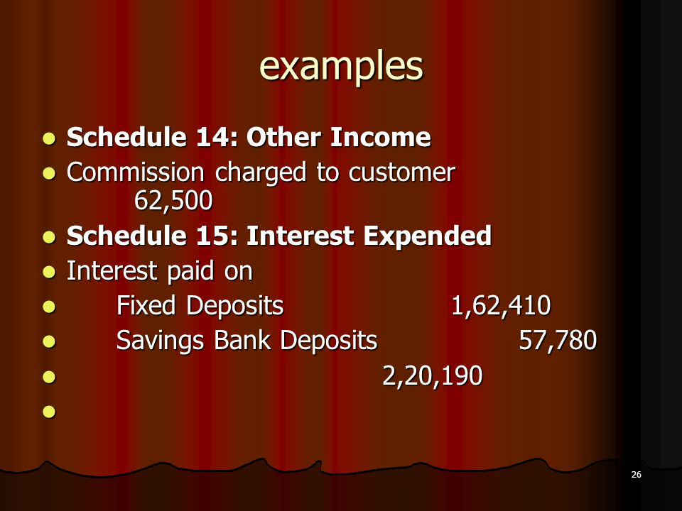 examples Schedule 14: Other Income