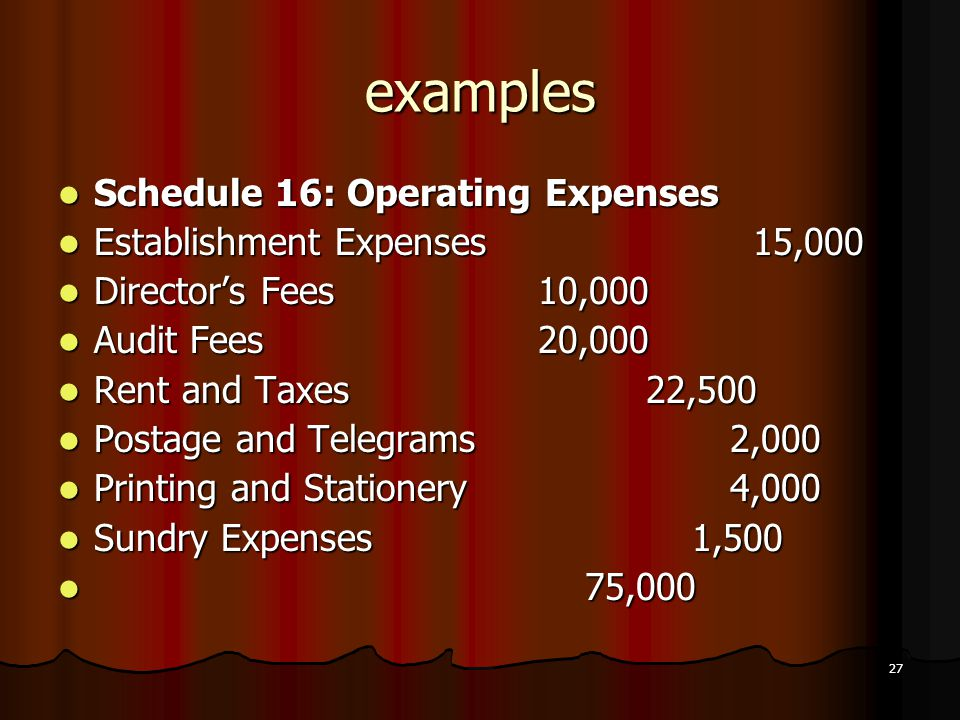 examples Schedule 16: Operating Expenses Establishment Expenses 15,000