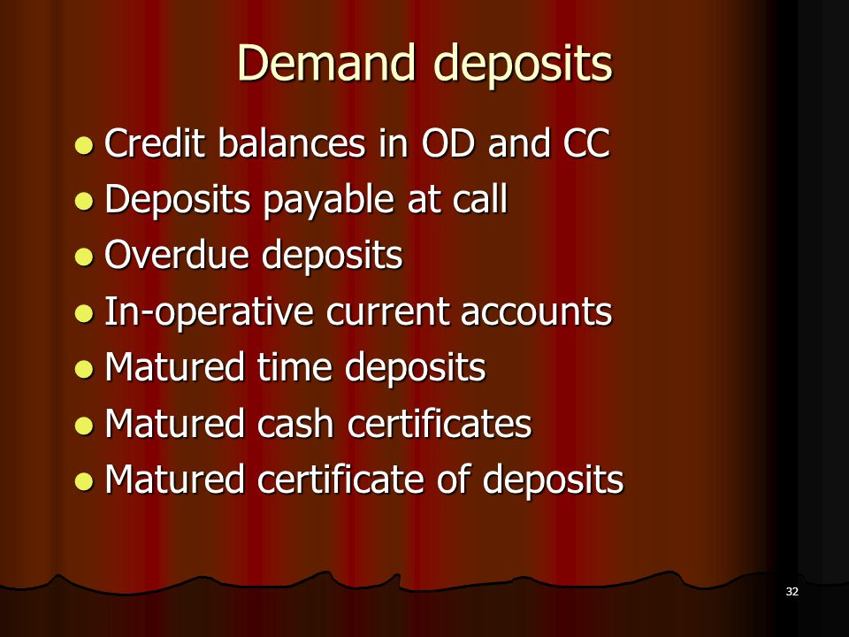 Demand deposits Credit balances in OD and CC Deposits payable at call