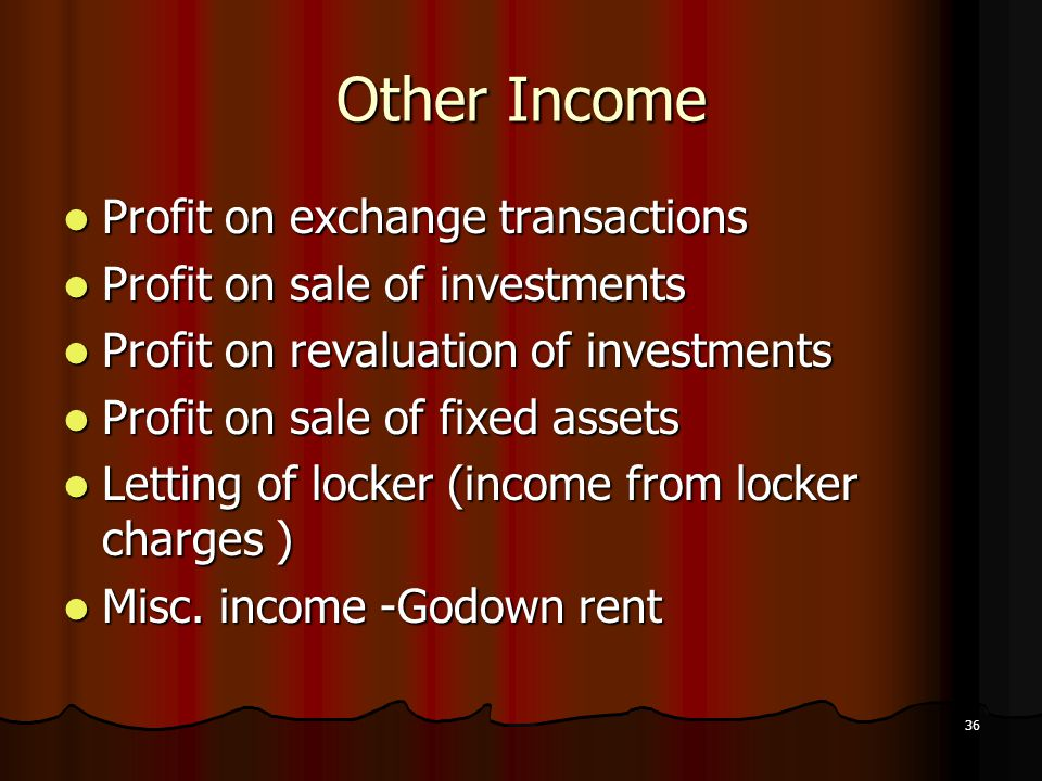 Other Income Profit on exchange transactions