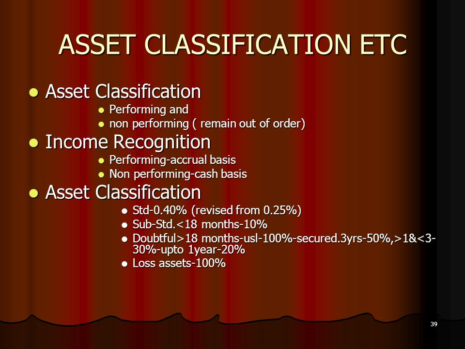 ASSET CLASSIFICATION ETC