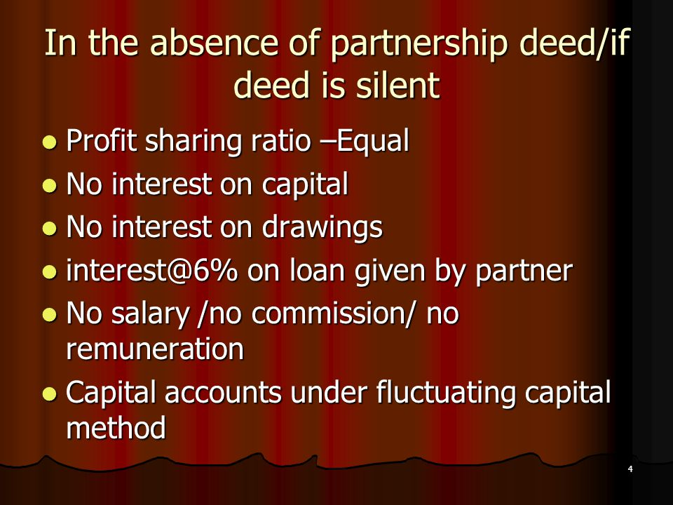 In the absence of partnership deed/if deed is silent