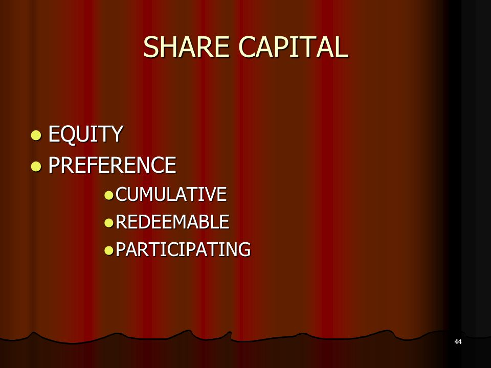 SHARE CAPITAL EQUITY PREFERENCE CUMULATIVE REDEEMABLE PARTICIPATING