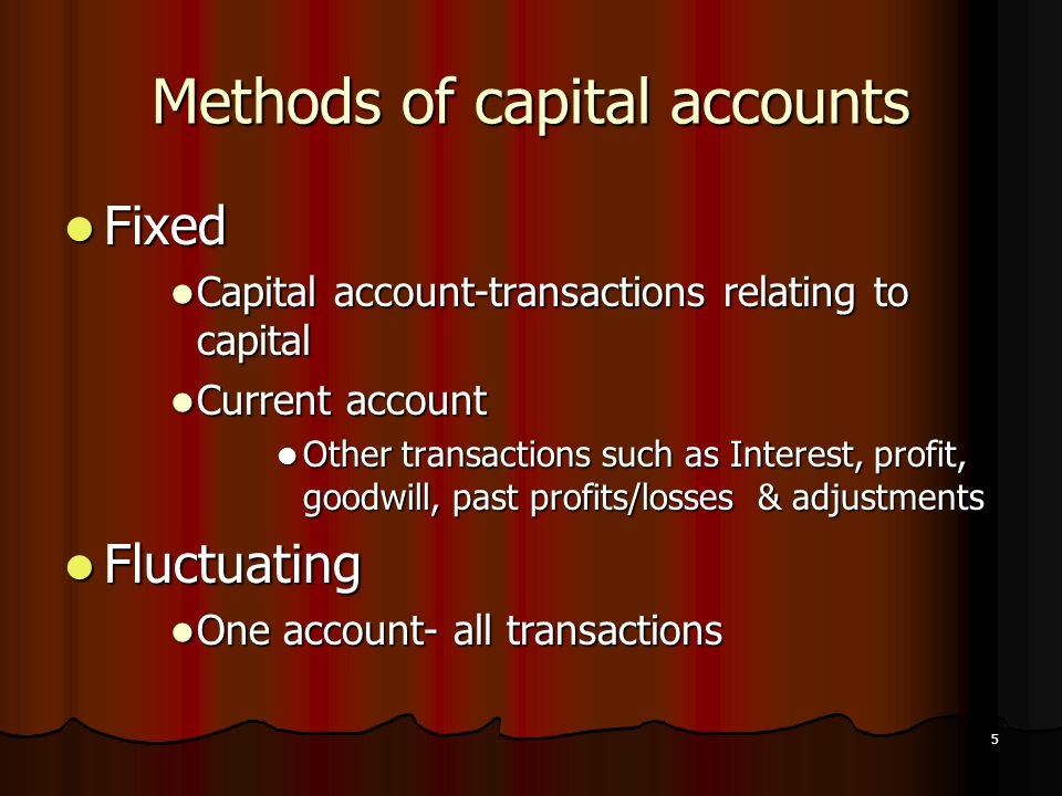 Methods of capital accounts