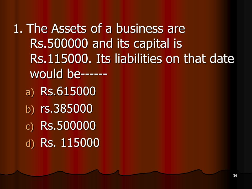 1. The Assets of a business are Rs. 500000 and its capital is Rs