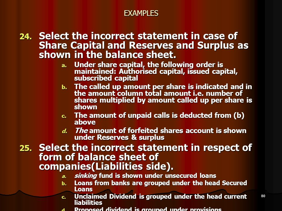 EXAMPLES Select the incorrect statement in case of Share Capital and Reserves and Surplus as shown in the balance sheet.