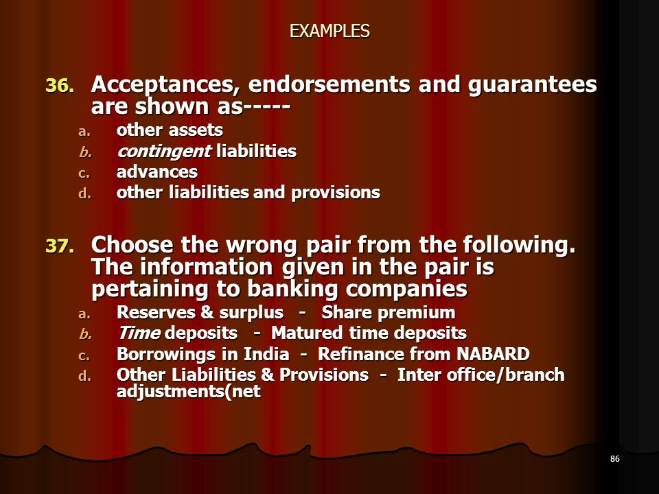 Acceptances, endorsements and guarantees are shown as-----