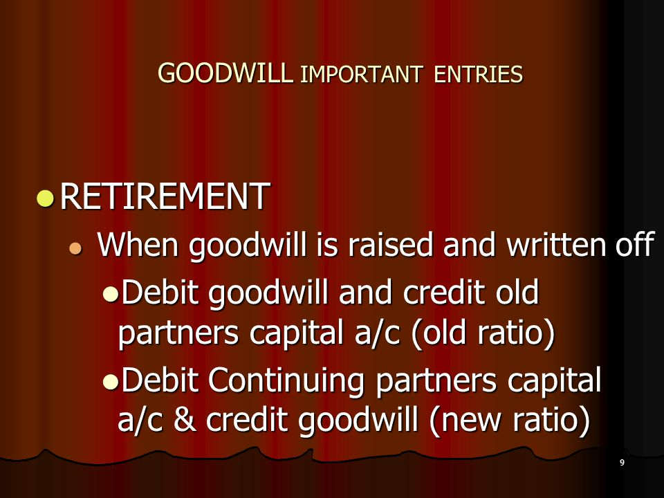 GOODWILL IMPORTANT ENTRIES