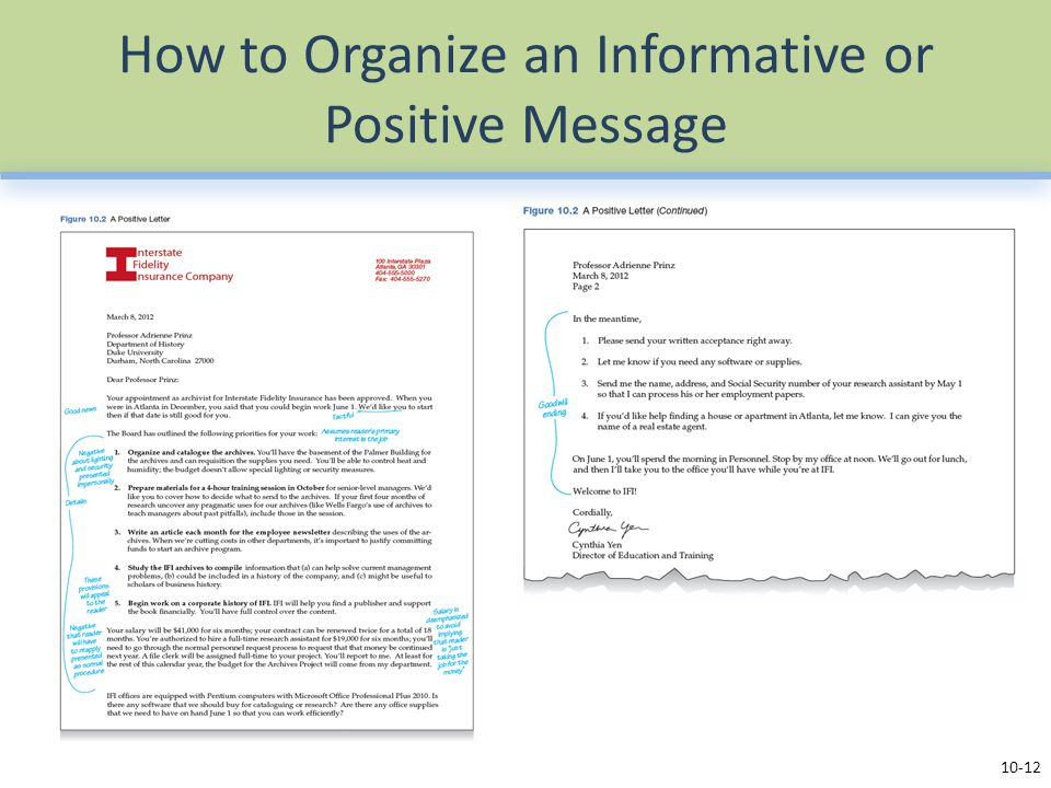 How to Organize an Informative or Positive Message