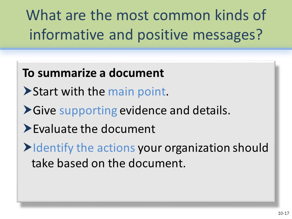 What are the most common kinds of informative and positive messages