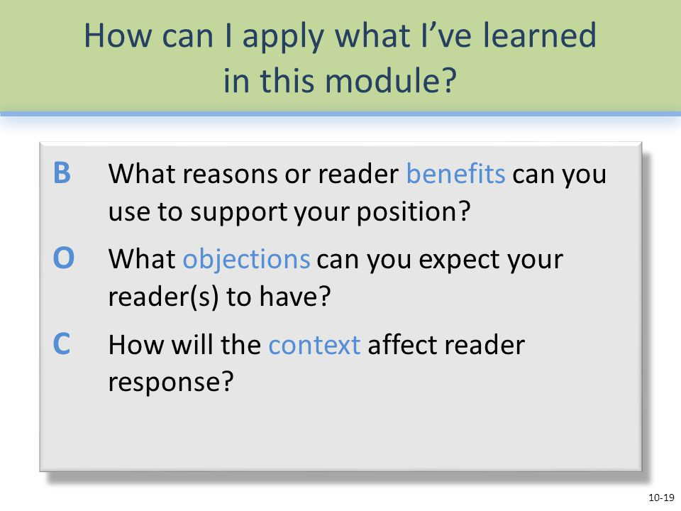 How can I apply what I've learned in this module