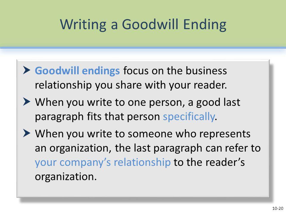 Writing a Goodwill Ending