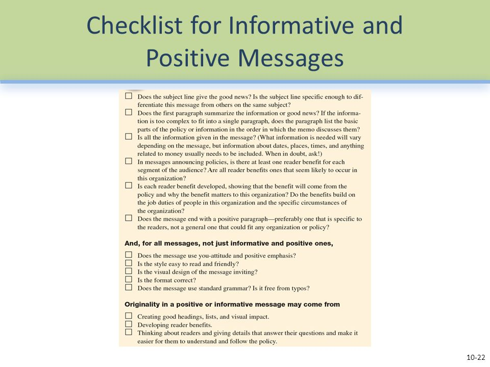 Checklist for Informative and Positive Messages