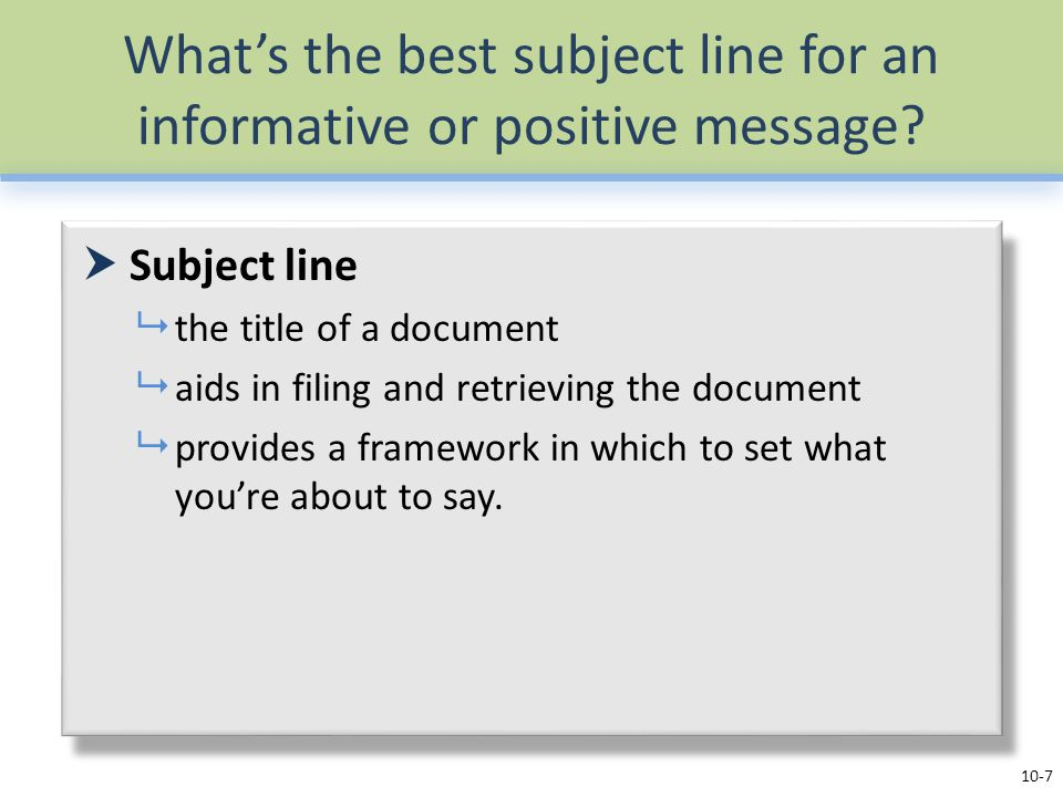 What's the best subject line for an informative or positive message