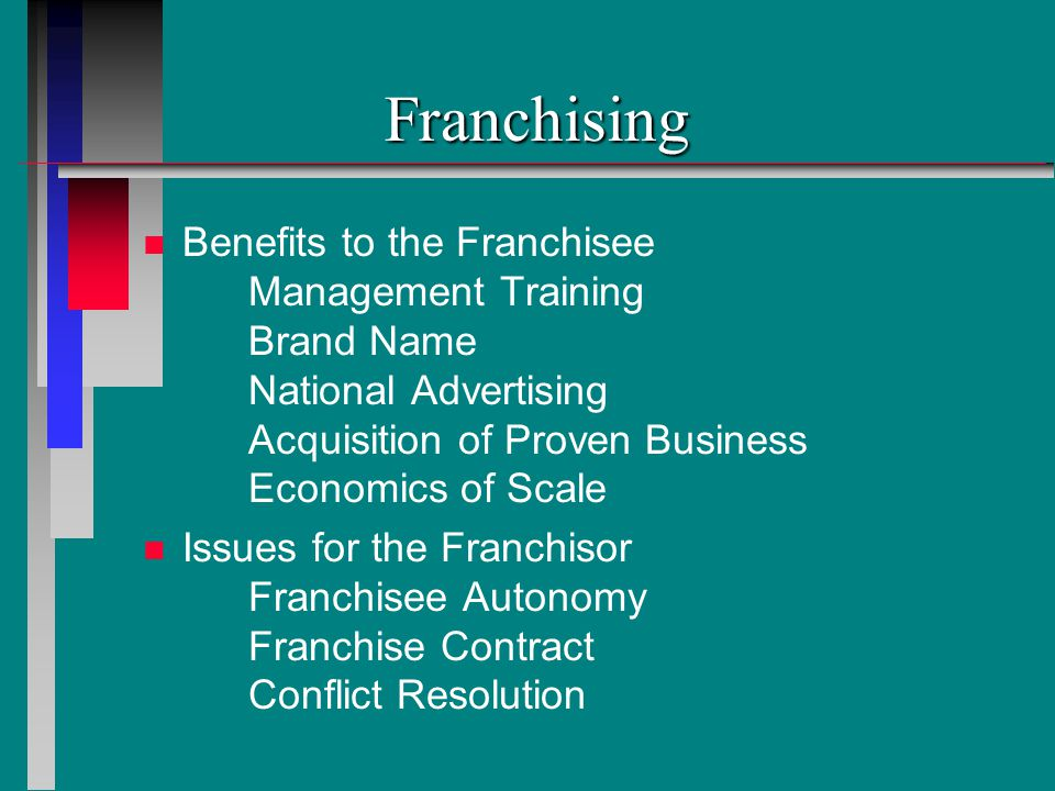 Franchising Benefits to the Franchisee Management Training Brand Name National Advertising Acquisition of Proven Business Economics of Scale.
