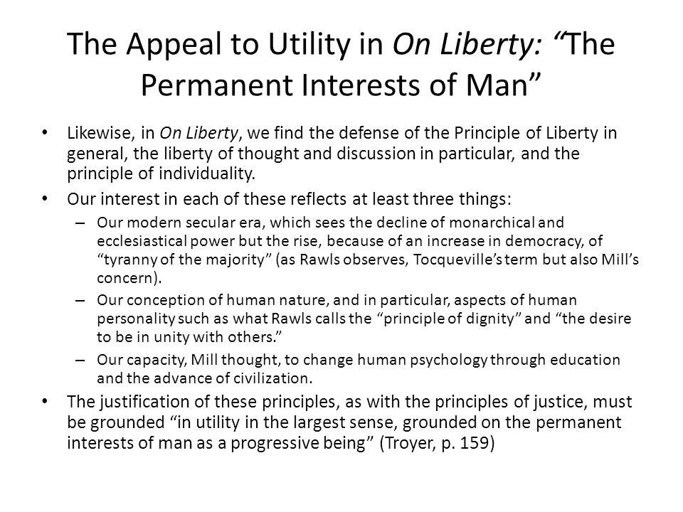 The Appeal to Utility in On Liberty: The Permanent Interests of Man